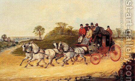 Mail Coaches on an Open Road by Henry Alken - Reproduction Oil Painting