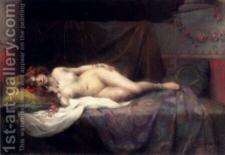 L'Odalisque by Henri Adriene Tanoux - Reproduction Oil Painting