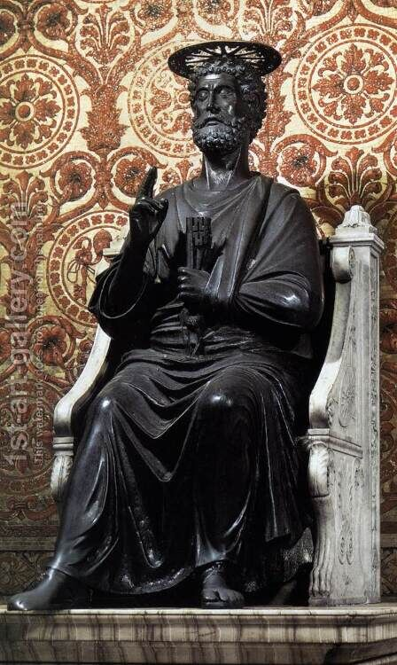 The Statue of Saint Peter by Arnolfo Di Cambio - Reproduction Oil Painting