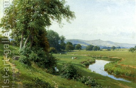 An Extensive River Landscape With A Young Girl Balancing On A Gate by Harry Sutton Palmer - Reproduction Oil Painting