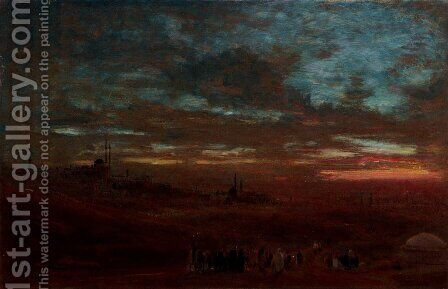 A view of Cairo at sunset by Albert Goodwin - Reproduction Oil Painting