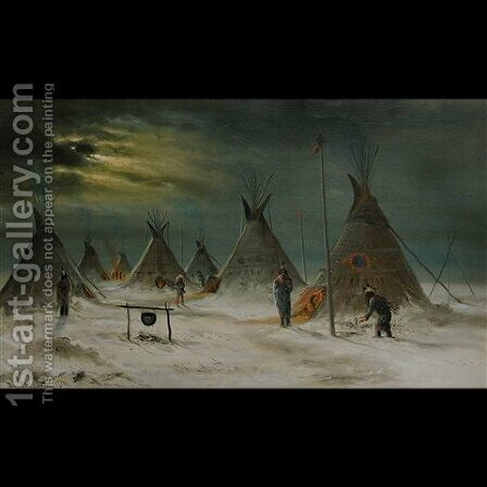 Red Clouds' winter camp by Astley David Middleton Cooper - Reproduction Oil Painting