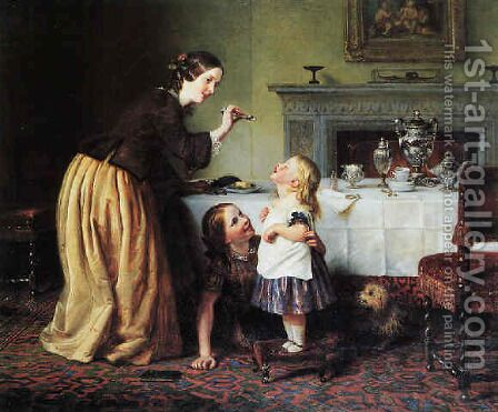 Breakfast times - Morning games by Charles West Cope - Reproduction Oil Painting
