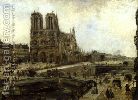 Notre Dame de Paris by Jacques-Edouard Dufeu - Reproduction Oil Painting