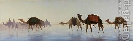 Camels Crossing Water by Charles Théodore Frère - Reproduction Oil Painting
