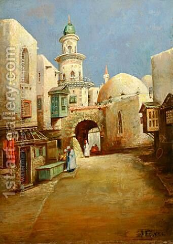 Peaceful Street in Cairo by Charles Théodore Frère - Reproduction Oil Painting
