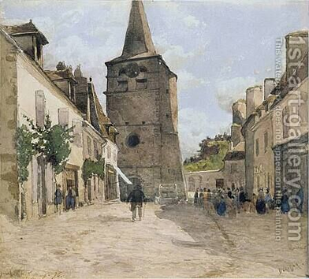 View of Hérisson-sur-Allier, 1876 by Henri Joseph Harpignies - Reproduction Oil Painting