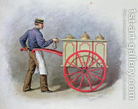 The Ice Cream Seller, 1895 by Gustav Zafaurek - Reproduction Oil Painting
