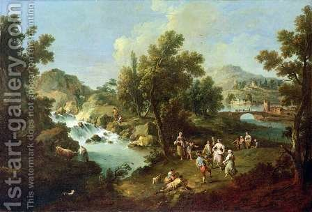 Landscape with a River and Dancing Peasants by Giuseppe Zais - Reproduction Oil Painting