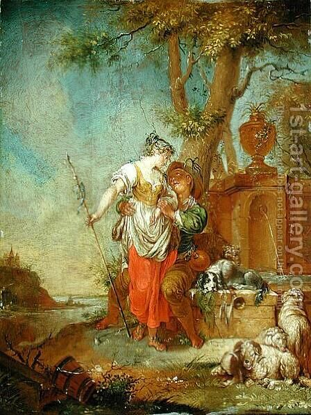 Shepherd and Shepherdess by Januarius Zick - Reproduction Oil Painting