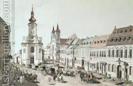 The Parish Church and Cemetery of Fauxbourg, engraved by the artist by Jacob Ziegler - Reproduction Oil Painting