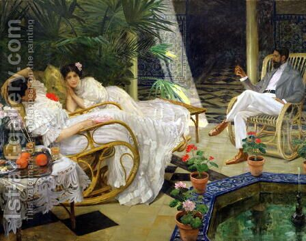 The Patio by Henri Zo - Reproduction Oil Painting