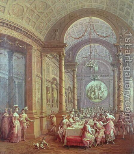 Fete Champetre at The Oaks, near Epsom: The Supper Room by Antonio Zucchi - Reproduction Oil Painting