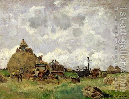 The Threshing Machine by Edmond Charles Joseph Yon - Reproduction Oil Painting