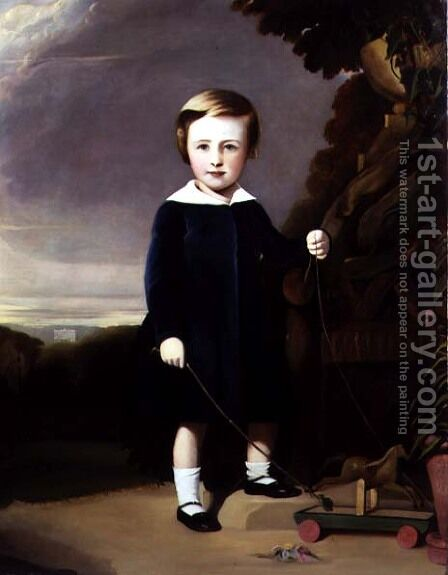 Portrait of a Child with a Wooden Top by Alexander Young - Reproduction Oil Painting
