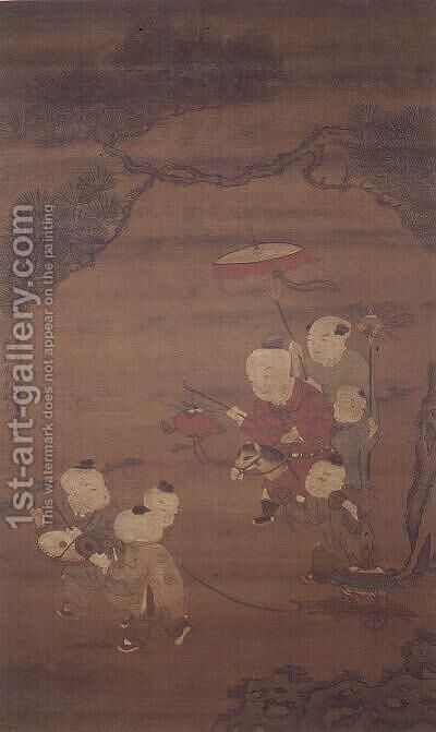 Boys at play, Ming Dynasty by Ch'iu Yu - Reproduction Oil Painting