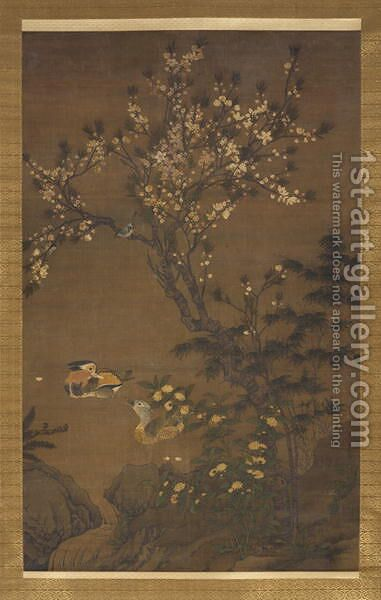 Mandarin Ducks under Peach Blossoms, Yuan Dynasty by (attr. to) Yuan, Wang - Reproduction Oil Painting