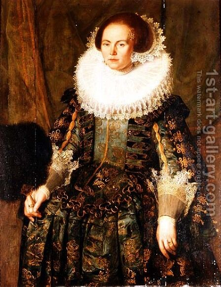 Portrait of Eva Ment, wife of Governor Jan Pietersz, Coen of Hoorn, 1631 by Jakob Wabbe - Reproduction Oil Painting