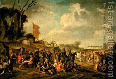 Military Camp by some Ruins by Cornelis de Wael - Reproduction Oil Painting