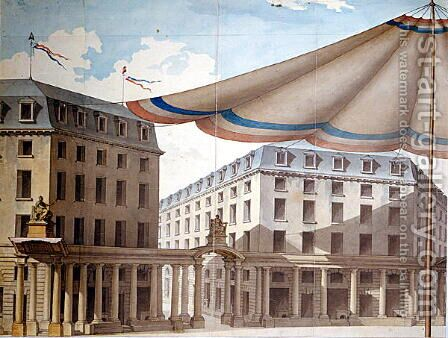 Design for decorating the Place de lOdeon for a revolutionary fete, 1790 by Charles de Wailly - Reproduction Oil Painting