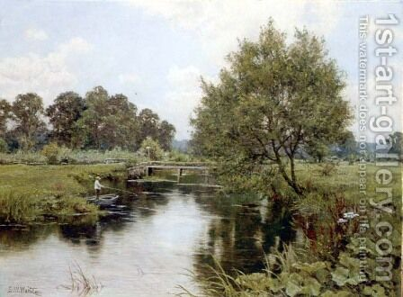 The Enborne at Aldermaston Mill, Berkshire by Edward Wilkins Waite - Reproduction Oil Painting