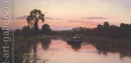 The Silent Highway, River Kennet, Woolhampton, Berkshire, 1911 by Edward Wilkins Waite - Reproduction Oil Painting