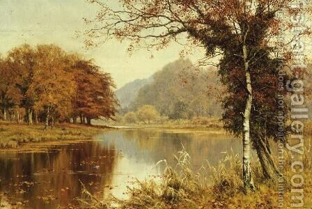A Woodland Pool in Autumn by Edward Wilkins Waite - Reproduction Oil Painting