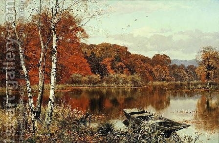 Now Autumn's fire burns slowly along the woods, Abinger Mill Pond, Abinger Hammer, Surrey by Edward Wilkins Waite - Reproduction Oil Painting