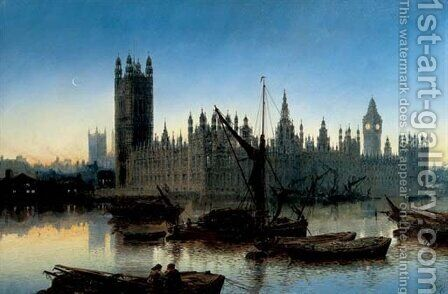 Houses of Parliament, Westminster, 1877 by Claude T. Stanfield Moore - Reproduction Oil Painting