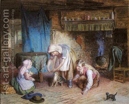 Feeding the Kitten by James Clarke Waite - Reproduction Oil Painting