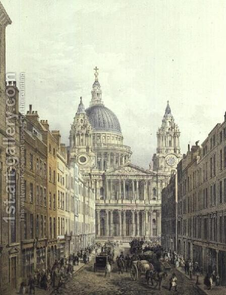 St. Paul's Cathedral, looking up Ludgate Hill, pub. 1852 by LLoyd Bros. & Co. by Edmund Walker - Reproduction Oil Painting