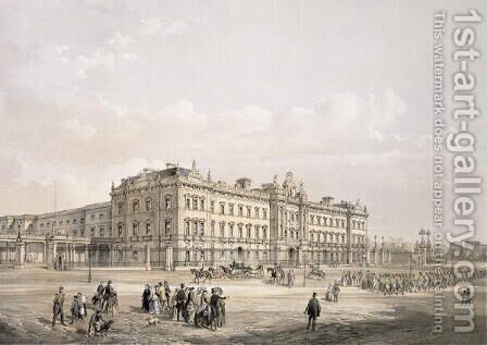 Buckingham Palace, engraved by Thomas Picken (fl.1838-d.1870), pub. 1852 by Lloyd Bros. & Co. by Edmund Walker - Reproduction Oil Painting