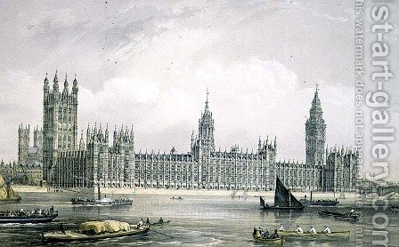 The New Houses of Parliament, engraved by Thomas Picken (fl.1838-d.1870) pub. 1852 by Lloyd Bros. & Co. by Edmund Walker - Reproduction Oil Painting