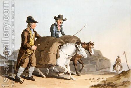 Cloth makers taking cloth to market, from Costume of Yorkshire engraved by Robert Havell by (after) Walker, George - Reproduction Oil Painting