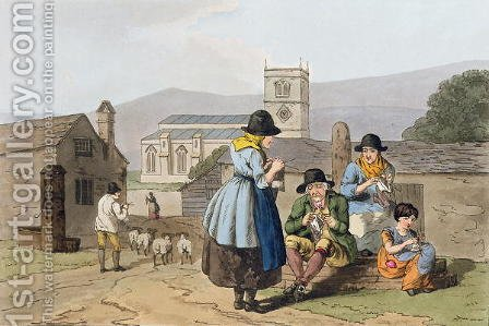 Wensleydale knitters, from Costume of Yorkshire engraved by Robert Havell (1769-1832) 1814 by (after) Walker, George - Reproduction Oil Painting