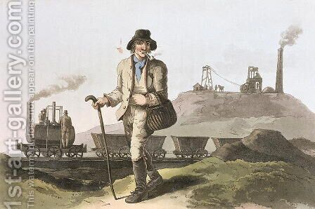 Blenkinsop locomotive at Middleton colliery near Leeds, from Costume of Yorkshire engraved by Robert Havell (1769-1832) 1814 by (after) Walker, George - Reproduction Oil Painting