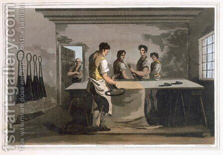 Cloth Dressers, from Costume of Yorkshire engraved by Robert Havell (1769-1832) 1814 by (after) Walker, George - Reproduction Oil Painting