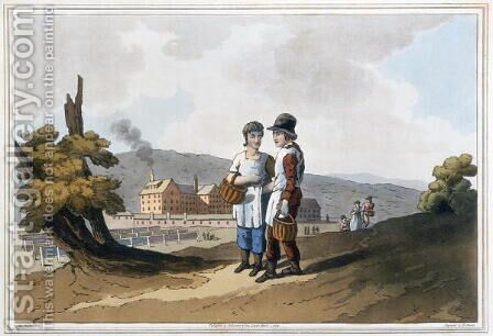 Factory Children, from The Costume of Yorkshire engraved by Robert Havell (1769-1832) 1814 by (after) Walker, George - Reproduction Oil Painting