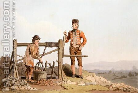 Ruddle Pit, from Costume of Yorkshire engraved by Robert Havell (1769-1832) 1814 by (after) Walker, George - Reproduction Oil Painting