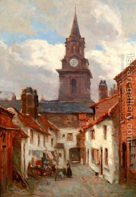 Strothers Yard, Berwick, 1902 by James Wallace - Reproduction Oil Painting