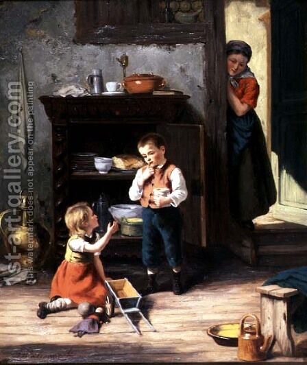 Children playing by Jan Walraven - Reproduction Oil Painting