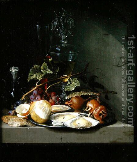 Still life of oysters and a peeled lemon on a ledge by Jacob van Walscapelle - Reproduction Oil Painting