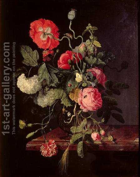 Flowers in a Glass Vase, 1667 by Jacob van Walscapelle - Reproduction Oil Painting