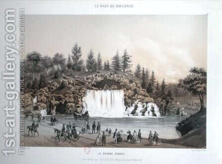 The Big Cascade in the Bois de Boulogne in Paris, published by Caudrilier, 1860 by J. Walter - Reproduction Oil Painting