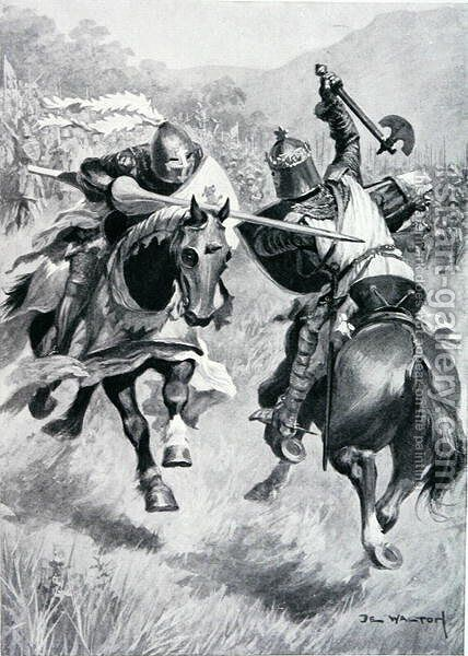 Encounter between Robert Bruce (1274-1329) and Sir Henry de Bohun (1276-1322) illustration from 'British Battles on Land and Sea' edited by Sir Evelyn Wood (1838-1919) first published 1915 by (after) Walton, Ambrose de - Reproduction Oil Painting