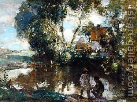 The Pool by Edward Arthur Walton - Reproduction Oil Painting