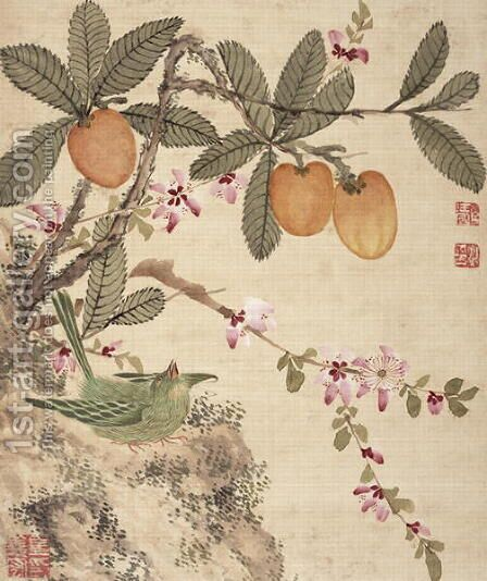 One of a series of paintings of birds and fruit, late 19th century 2 by Guoche Wang - Reproduction Oil Painting