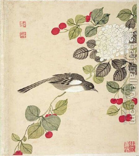 One of a series of paintings of birds and fruit, late 19th century 4 by Guoche Wang - Reproduction Oil Painting