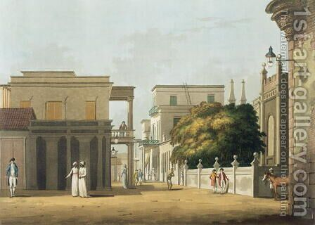 A View of Part of St. Thome Street, Fort St. George, plate 12 from Twenty Four Views in Hindostan, engraved by H. Merke, pub. by Edward Orme (1774-c.1820) 1804 by Colonel Francis Swain Ward - Reproduction Oil Painting