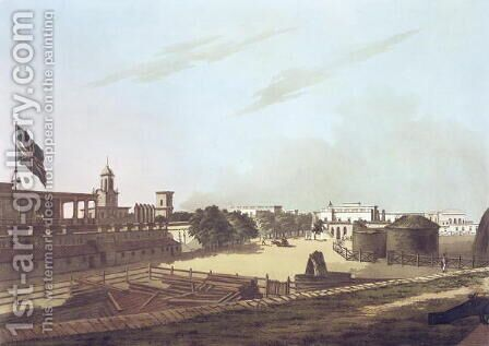 A View from the King's Barracks, Fort St. George, plate 16 from Twenty Four Views in Hindostan, engraved by Harraden, pub. by Edward Orme (1774-c.1820) 1804 by Colonel Francis Swain Ward - Reproduction Oil Painting